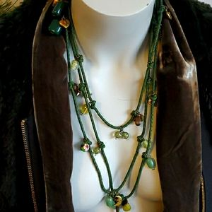 Boho green rope charm necklace